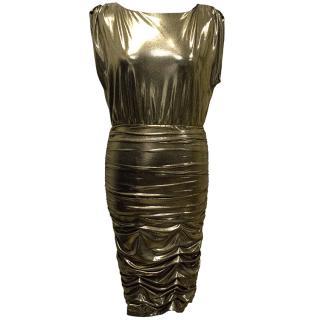 Alice+Olivia Metallic Gold Dress