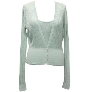 Megan Park Mint Silk Knitted Vest Top and Cardigan