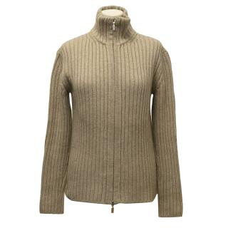 Tania Camel Cashmere Zip-up Sweater