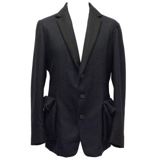 Bottega Veneta Navy Blue Wool Blend Coat