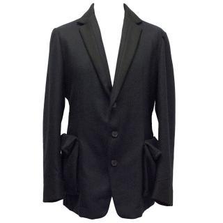 Bottega Veneta Navy Blue Wool Blend Coat