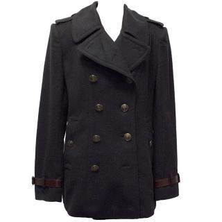 Burberry Navy Double Breasted Coat