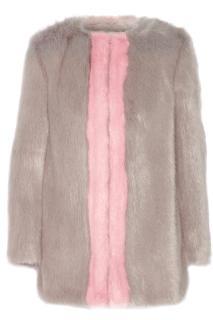 Shrimps faux fur cota grey and pink
