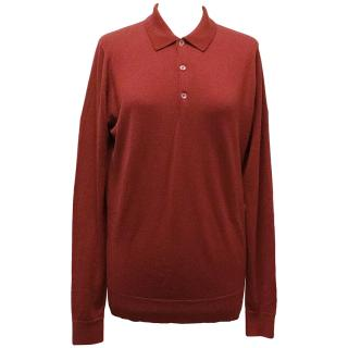John Smedley Red Wool Long-Sleeved Top