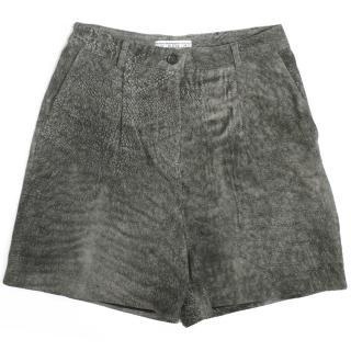 Dagmar Grey Lamb Leather Shorts