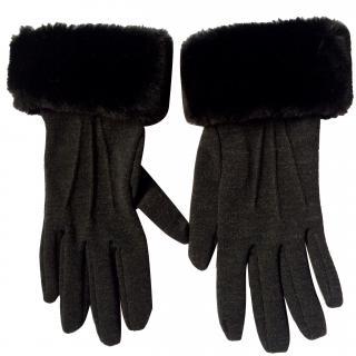 Capucine Puerari anthracite jersey gloves with faux fur trim