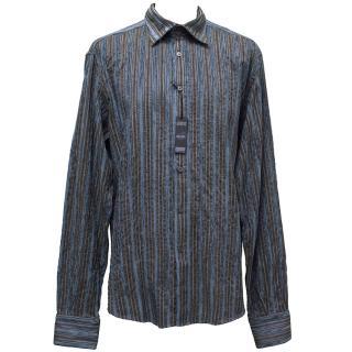 Poggianti Blue & Brown Stripe Shirt
