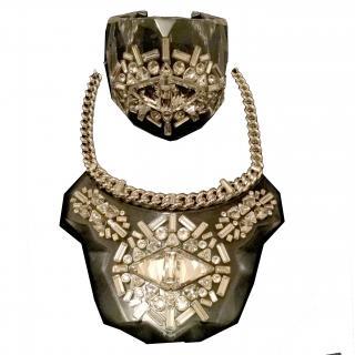 Swarovski Rhinestone statement necklace and cuff set