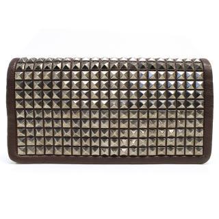 Stella McCartney Brown Silver Studded Clutch