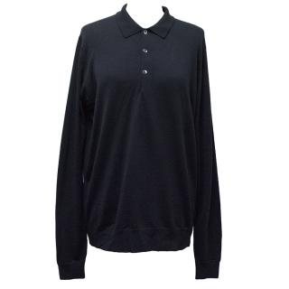 John Smedley Long Sleeve Blue Polo Shirt