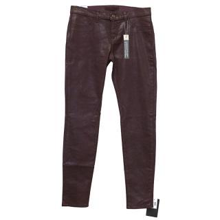 J Brand Maroon Coated Jeans