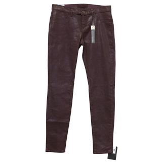 J Brand Maroon Coated Jeans