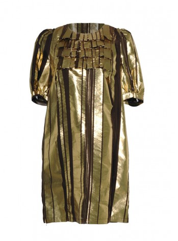 See by Chloe Gold Silk Shift Dress