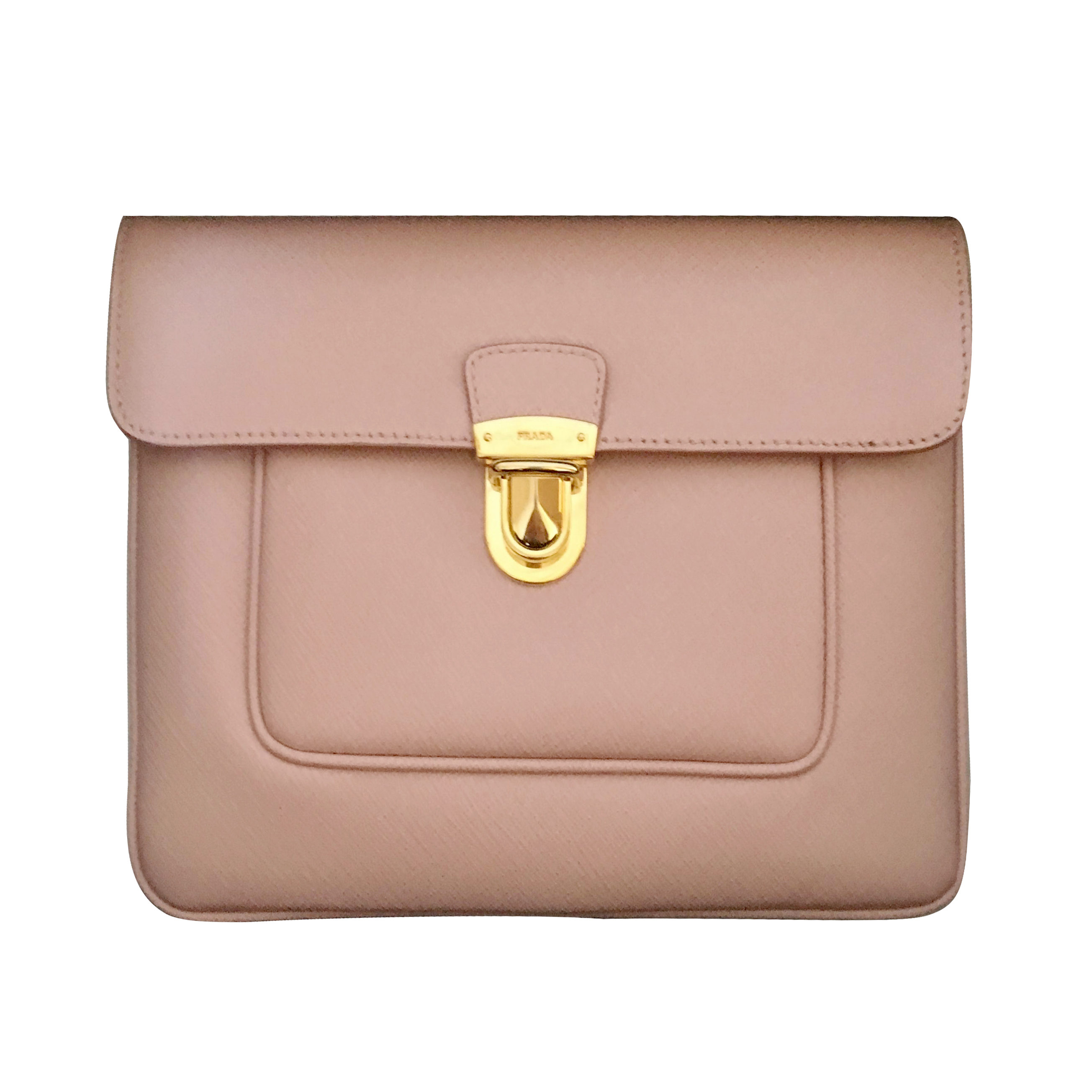 1ede7308037685 Prada Pink Saffiano Leather Clutch Bag | HEWI London