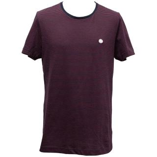 Pretty Green Burgundy & Navy Striped Cotton T-shirt