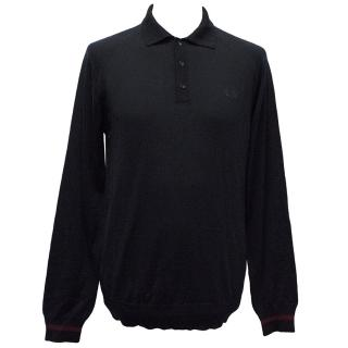 Fred Perry Navy Long-Sleeve Wool Top