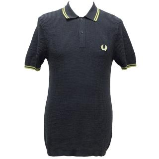 Fred Perry Navy & Green Trim Short-Sleeve Acylic-Blend Polo