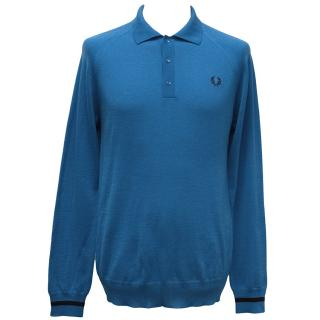Fred Perry Blue Long-Sleeve Wool Polo Shirt