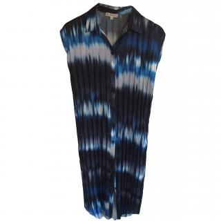 Dagmar Black Blue Pleated Dress