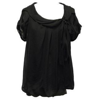Sportmax Black Silk Short-Sleeve Top