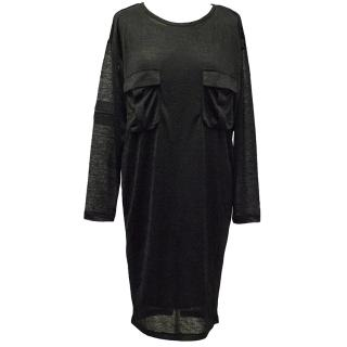 Gestuz Black Long-Sleeve Dress with Front Pockets