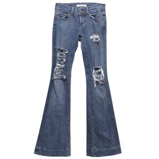 J Brand Ripped Flared Jeans
