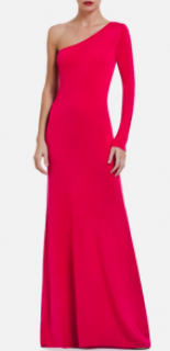 BCBG Pink One Sleeved Maxi Dress