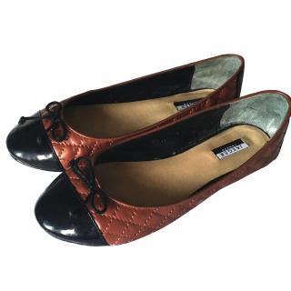 Jaeger ballet pump brown & black patent