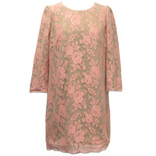 Whistles Nude & Pink Lace Long-Sleeve Dress