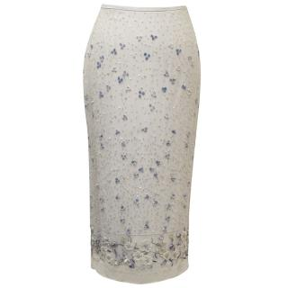 Helen David Silver Embroidered Skirt with Sequin Detail