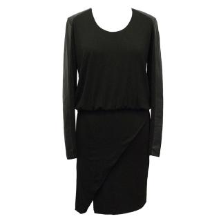 Mason Black Dress with Faux Leather Sleeves