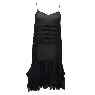 Pollini Black Sheer Dress with Ruffle Hem