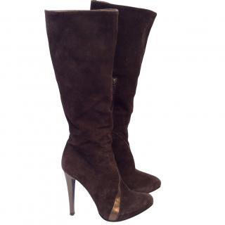 Diesel Long Brown Suede Boots
