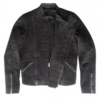 Fendi Black Crocodile Biker Jacket