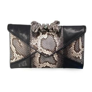 Maison Du Posh Large Envelop Panther Knuckle Ring Python Clutch