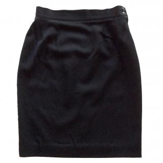 Georges Rech Paris vintage black wool skirt with satin trim