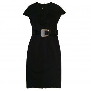 Michael Kors black stretch dress with big leather belt