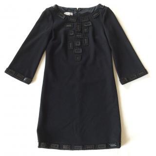 Emilio Pucci black embellished wool crepe dress