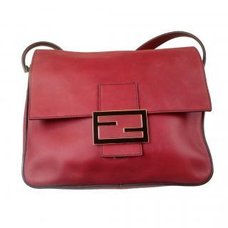 Fendi red leather shoulder bag
