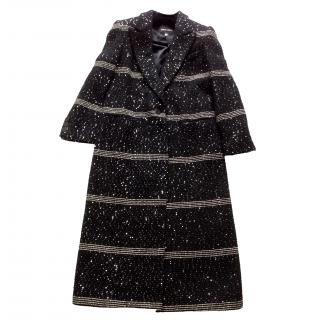 Giorgio Armani Black Label long black coat sequins
