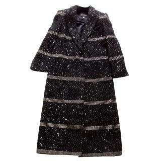 Giorgio Armani Black Label long black coat sequins