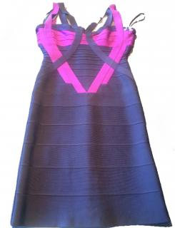 Herve Leger Pink and Navy Bodycon dress