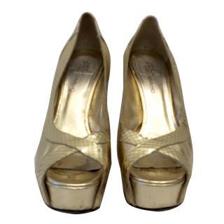 Gil Carvalho Gold Platform Sandals