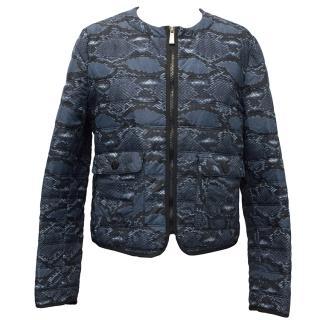 Pinko Tag Blue Snakeskin-Print Jacket