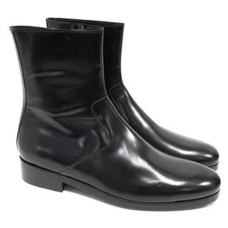 Balenciaga Black Leather Ankle Boots with Zip