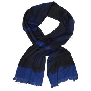 Donna Karen Blue & Black Cashmere-Blend Scarf