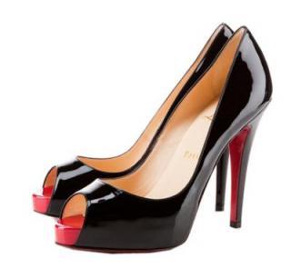 Christian Louboutin black patent Very Prive 120 platform heels