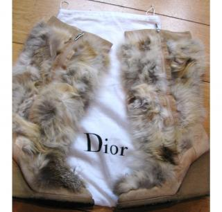Christian Dior fur wedge boots