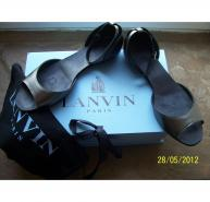 LANVIN SS07 METALLIC LEATHER OPEN TOE BALLET SANDAL