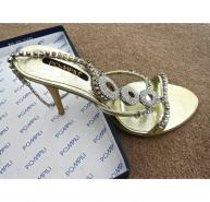 Pompili Diamante and gold sandals